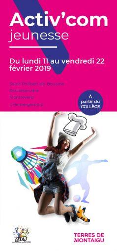 Couverture : Activ'com Jeunesse - Rocheservière - Hiver 2019 - Terres de Montaigu
