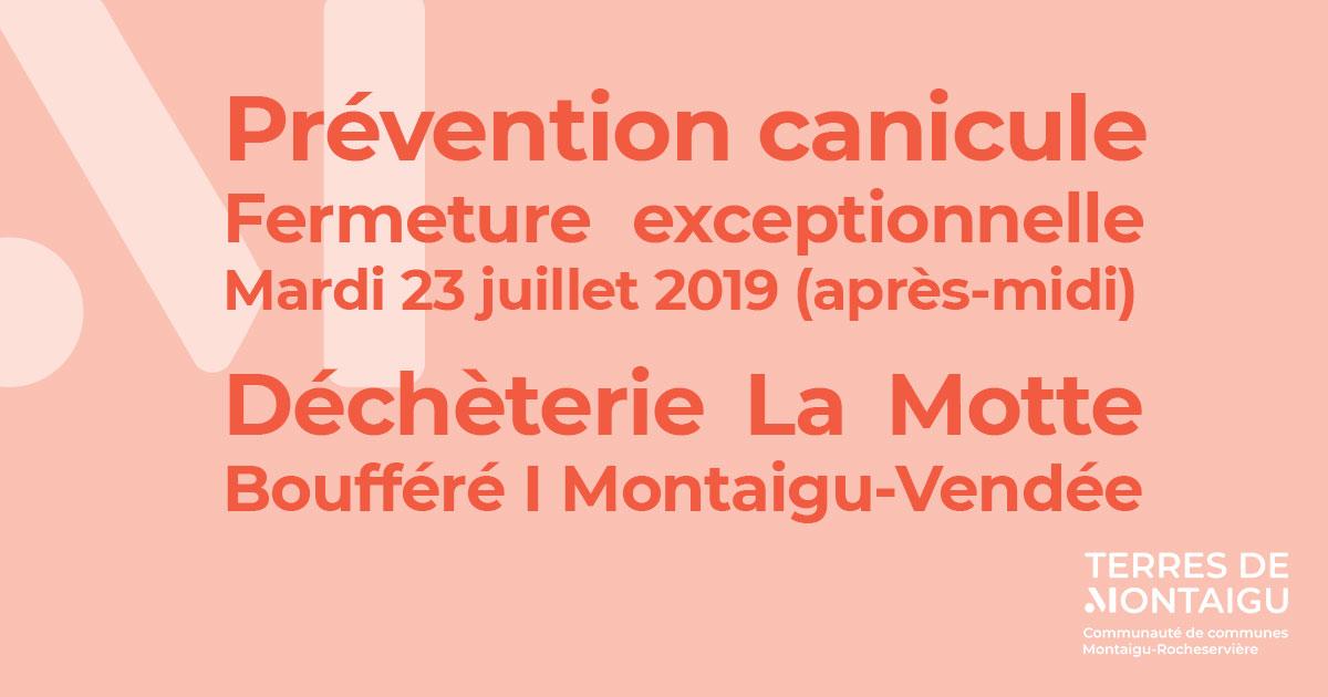 Visuel : fermeture exceptionnelle - Déchetterie La Motte - Terres de Montaigu